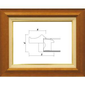 額縁 油絵額縁 油彩額縁 木製フレーム ガラス付 7720 サイズF4号|touo