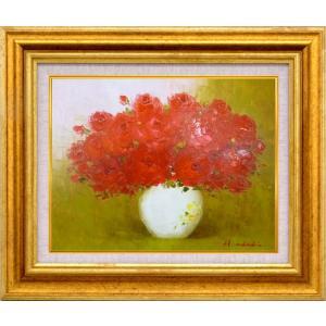 絵画 油絵 肉筆絵画 壁掛け (額縁 アートフレーム付き)サイズF10号 「赤バラ」 足立 弘樹|touo