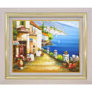 絵画 油絵 肉筆絵画 壁掛け (額縁 アートフレーム付き)サイズF6号 「海の見えるカフェ通り」 矢田 晃|touo