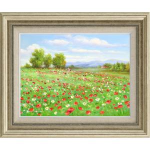 絵画 油絵 肉筆絵画 壁掛け (額縁 アートフレーム付き)サイズF6号 「アネモネの咲く丘」 エマ|touo