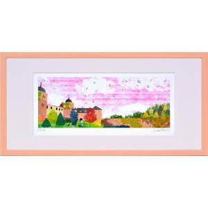 版画 リトグラフ ピエゾグラフ はりたつお作 「秋空のザバブルク城(いばら姫)」 400x200mm|touo