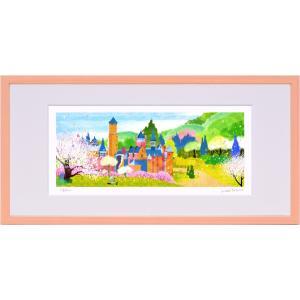 版画 リトグラフ ピエゾグラフ はりたつお作 「春のレーベンブルク城とりんごの木」 400x200mm|touo