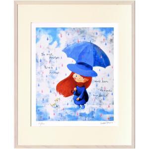 版画 リトグラフ ピエゾグラフ はりたつお作 「出会い・虹色の雨」 四ッ切|touo