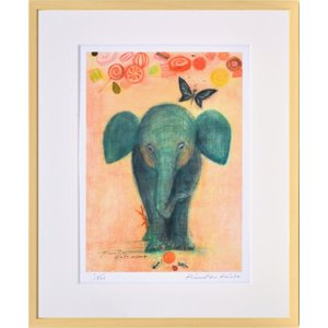絵画 リトグラフ インテリア 壁掛け (額縁 アートフレーム付き) 久松ひろこ作 「ゾウさんのキャンディー」 四ッ切サイズ|touo