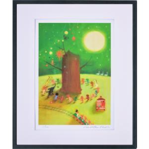 絵画 リトグラフ インテリア 壁掛け (額縁 アートフレーム付き) 久松ひろこ作 「真夜中の集会」 四ッ切サイズ|touo