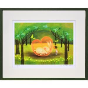 絵画 リトグラフ インテリア 壁掛け (額縁 アートフレーム付き) 久松ひろこ作 「クリスタルのハート」 四ッ切サイズ|touo