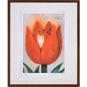 絵画 リトグラフ インテリア 壁掛け (額縁 アートフレーム付き) 久松ひろこ作 「ねこのお家」 四ッ切サイズ|touo