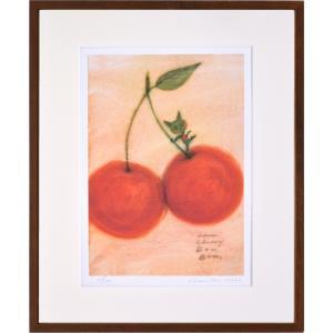 絵画 リトグラフ インテリア 壁掛け (額縁 アートフレーム付き) 久松ひろこ作 「Cherry bon bon!」 四ッ切サイズ|touo