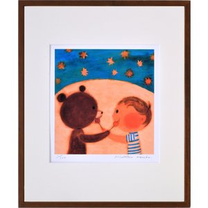 絵画 リトグラフ インテリア 壁掛け (額縁 アートフレーム付き) 久松ひろこ作 「ぼくとくまくんとキャンディ」 四ッ切サイズ|touo