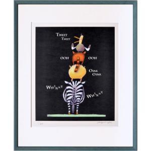 絵画 リトグラフ インテリア 壁掛け (額縁 アートフレーム付き) 藪上 陽子作 「ブレーメン」 四ッ切サイズ|touo