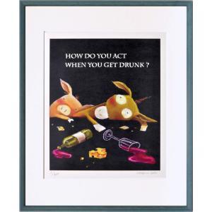 絵画 リトグラフ インテリア 壁掛け (額縁 アートフレーム付き) 藪上 陽子作 「酔っ払いロバブタ」 四ッ切サイズ|touo