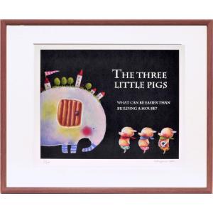 絵画 リトグラフ インテリア 壁掛け (額縁 アートフレーム付き) 藪上 陽子作 「三匹の子豚」 四ッ切サイズ|touo