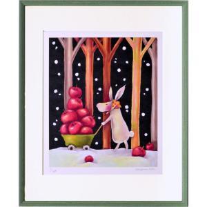 絵画 リトグラフ インテリア 壁掛け (額縁 アートフレーム付き) 藪上 陽子作 「うさぎさん」 四ッ切サイズ|touo