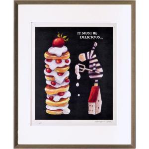 絵画 リトグラフ インテリア 壁掛け (額縁 アートフレーム付き) 藪上 陽子作 「しまうまとケーキ」 四ッ切サイズ|touo