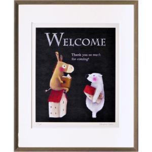 絵画 リトグラフ インテリア 壁掛け (額縁 アートフレーム付き) 藪上 陽子作 「ロバとシロクマ」 四ッ切サイズ|touo
