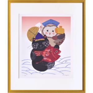 絵画 リトグラフ インテリア 壁掛け (額縁 アートフレーム付き) 米澤 彩作 「恵比寿猫と大黒ふくろう」 四ッ切サイズ|touo