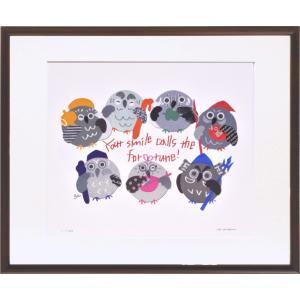 絵画 リトグラフ インテリア 壁掛け (額縁 アートフレーム付き) 米澤 彩作 「七福ろう」 四ッ切サイズ|touo