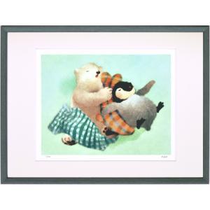 絵画 デジタル版画 インテリア 壁掛け (額縁 アートフレーム付き) 菜生作 「お昼寝」 太子サイズ|touo