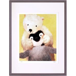 絵画デジタル版画インテリア 壁掛け (額縁 アートフレーム付き) 菜生作 「ぎゅみっ」 太子サイズ|touo