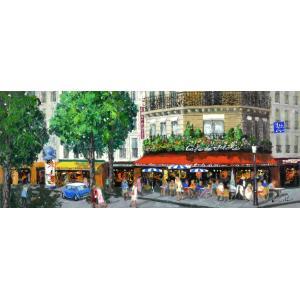 絵画 油絵 肉筆絵画 壁掛け ( 油絵額縁 アートフレーム付きで納品対応可 ) NO.23 WSMサイズ 「カフェのある街角」 斎藤 要|touo