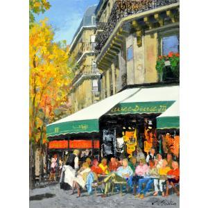 絵画 油絵 肉筆絵画 壁掛け ( 油絵額縁 アートフレーム付きで納品対応可 ) NO.33 SMサイズ 「街角のカフェ(秋)」 斎藤 要|touo