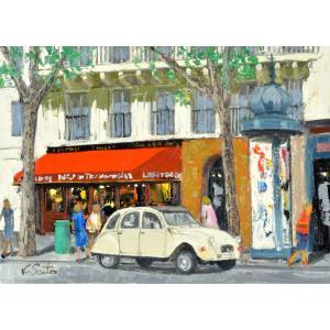 絵画 油絵 肉筆絵画 壁掛け ( 油絵額縁 アートフレーム付きで納品対応可 ) NO.10 F30号サイズ 「パリの街(2)(赤屋根カフェとWhite car)」 斎藤 要 touo