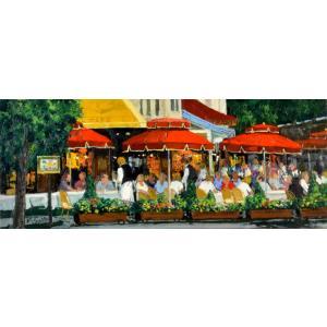 絵画 油絵 肉筆絵画 壁掛け ( 油絵額縁 アートフレーム付きで納品対応可 ) NO.21 WSMサイズ 「シャンゼリゼのカフェ」 斎藤 要|touo