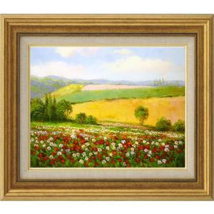 絵画 油絵 肉筆絵画 壁掛け (額縁 アートフレーム付き)サイズF6号 「春の花畑」 エマ 8111 F6 ゴールド|touo