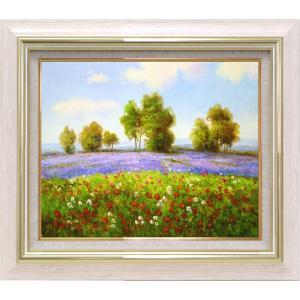 絵画 油絵 肉筆絵画 壁掛け (額縁 アートフレーム付き)サイズF6号 「ラベンダーの咲く丘」 エマ|touo