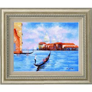 絵画 油絵 肉筆絵画 壁掛け (額縁 アートフレーム付き)サイズF6号 「ベニス(1)」 C・コックス 9631 F6 シルバー|touo