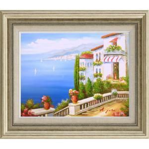 絵画 油絵 肉筆絵画 壁掛け (額縁 アートフレーム付き)サイズF6号 「青い海の見えるテラスより」 矢田 晃 8111 F6 シルバー|touo