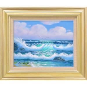 絵画 油絵 肉筆絵画 壁掛け (額縁 アートフレーム付き)サイズF6号 「波」 B.ローガン|touo