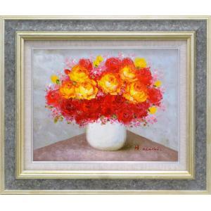 絵画 油絵 肉筆絵画 壁掛け (額縁 アートフレーム付き)サイズF6号 「赤・黄バラ」 足立弘樹 8117 F6 ストーングレー|touo