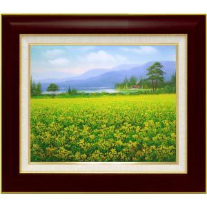 絵画 油絵 肉筆絵画 壁掛け (額縁 アートフレーム付き)サイズF6号 「春の香りのする頃」 堀 拓也 8120 F6 ブラウン|touo