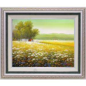 絵画 油絵 肉筆絵画 壁掛け (額縁 アートフレーム付き)サイズF6号 「菜の花の咲く頃」 沢井 美里|touo
