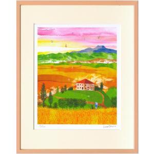 版画 リトグラフ ピエゾグラフ はりたつお作 「オルチャ渓谷 収穫の秋(イタリア)」 四ッ切|touo