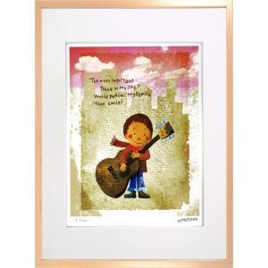 版画 リトグラフ ピエゾグラフ はりたつお作 「ギターと少年」 四ッ切|touo