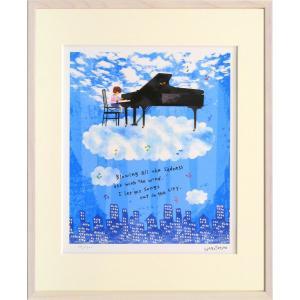 版画 リトグラフ ピエゾグラフ はりたつお作 「AConcertOnTheCloudー雲の上の演奏会ー」 四ッ切|touo