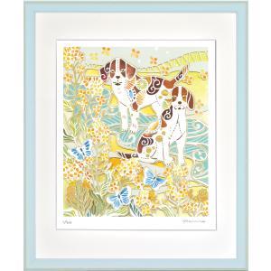絵画 ジークレー版画 インテリア 壁掛け (額縁 アートフレーム付き) 平石智美作 「春の庭遊び」 四ツ切サイズ|touo