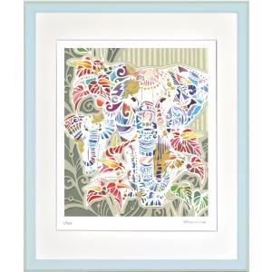 絵画 ジークレー版画 インテリア 壁掛け (額縁 アートフレーム付き) 平石智美作 「ゾウとアンスリウム」 四ツ切サイズ|touo