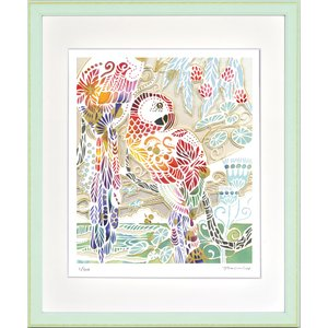 絵画 ジークレー版画 インテリア 壁掛け (額縁 アートフレーム付き) 平石智美作 「Tropical Rainbow」 四ツ切サイズ|touo
