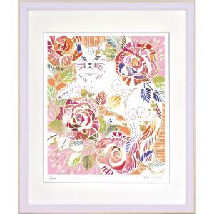 絵画 ジークレー版画 インテリア 壁掛け (額縁 アートフレーム付き) 平石智美作 「バラ模様のねこ」 四ツ切サイズ|touo