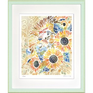 絵画 ジークレー版画 インテリア 壁掛け (額縁 アートフレーム付き) 平石智美作 「太陽の王様」 四ツ切サイズ|touo