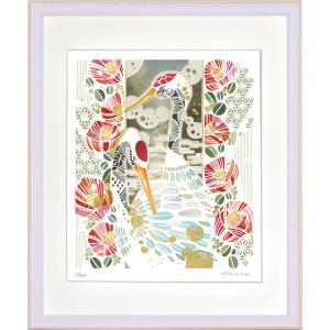 絵画 ジークレー版画 インテリア 壁掛け (額縁 アートフレーム付き) 平石智美作 「鶴と椿」 四ツ切サイズ|touo
