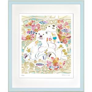 絵画 ジークレー版画 インテリア 壁掛け (額縁 アートフレーム付き) 平石智美作 「しろくまの夏休み」 四ツ切サイズ|touo