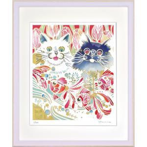 絵画 ジークレー版画 インテリア 壁掛け (額縁 アートフレーム付き) 平石智美作 「見つけちゃった」 四ツ切サイズ|touo
