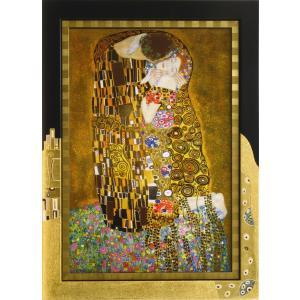 絵画 インテリア アートポスター 壁掛け (額縁 アートフレーム付き) クリムト作 「キッス」|touo