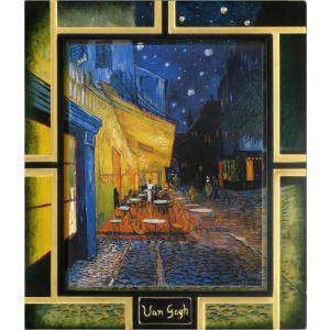 絵画 インテリア アートポスター 壁掛け (額縁 アートフレーム付き) ゴッホ作 「夜のカフェテラス2」|touo