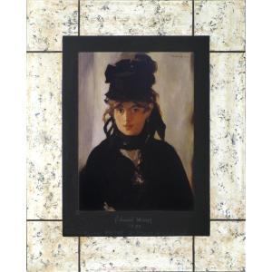 絵画 インテリア アートポスター 壁掛け (額縁 アートフレーム付き) マネ作 「ベルト・モリゾの肖像」|touo