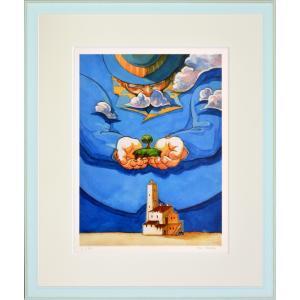 絵画 リトグラフ インテリア 壁掛け (額縁 アートフレーム付き) 堀 乃布子作 「ギフト」 四ツ切サイズ|touo